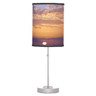 Puesta del sol anaranjada púrpura del golfo de la lámpara de mesilla de noche
