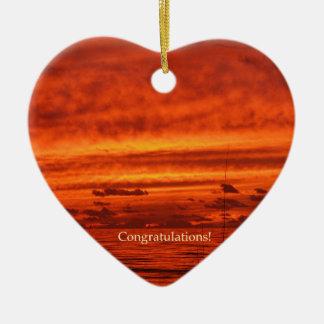 Puesta del sol anaranjada roja de la playa de Fire Ornamento Para Arbol De Navidad