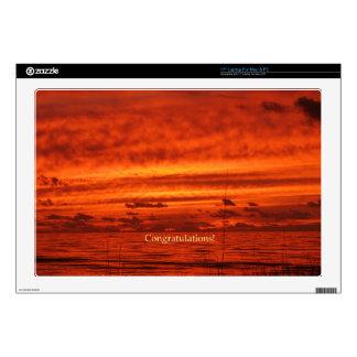 Puesta del sol anaranjada roja de la playa de Fire 43,2cm Portátil Calcomanías