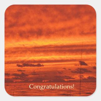 Puesta del sol anaranjada roja de la playa de calcomanías cuadradass