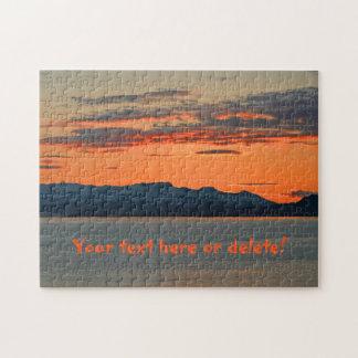 Puesta del sol anaranjada vibrante de Alaska Rompecabeza