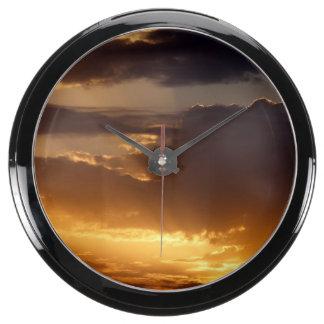 Puesta del sol reloj acuario