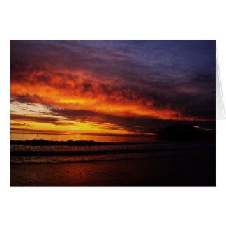 Puesta del sol ardiente de Santa Mónica Tarjeta Pequeña