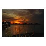 Puesta del sol ardiente del navidad impresión fotográfica