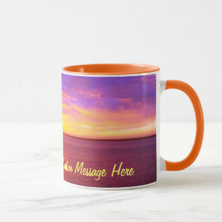 Puesta del sol ardiente personalizada taza
