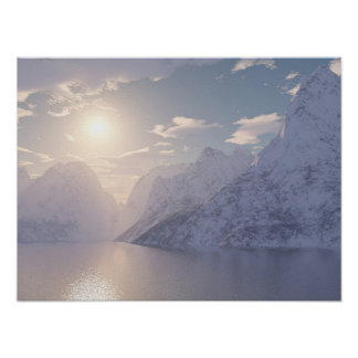 Puesta del sol ártica póster