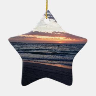 Puesta del sol Australia occidental de la bahía de Adorno Navideño De Cerámica En Forma De Estrella