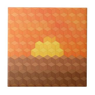 Puesta del sol axonométrica azulejo cuadrado pequeño