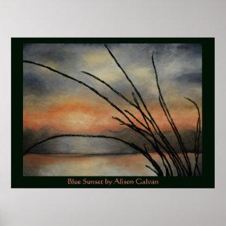 Puesta del sol azul del artista fino Alison Galvan Póster
