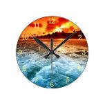 Puesta del sol azul del naranja de la resaca del o reloj de pared