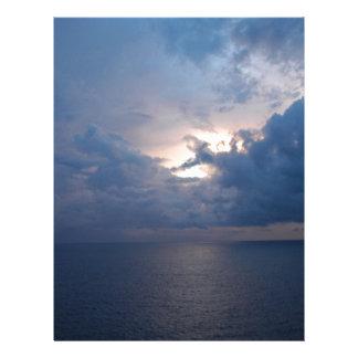Puesta del sol azul del océano membretes personalizados