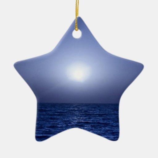 Puesta del sol azul ornamento de reyes magos