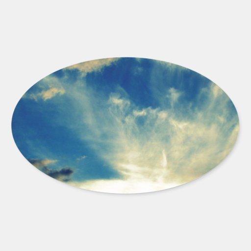Puesta del sol azul calcomania de óval personalizadas