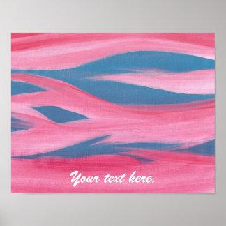 Puesta del sol azul rosada que pinta sus posters