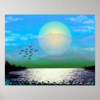 Puesta del sol azul sobre el poster del lago
