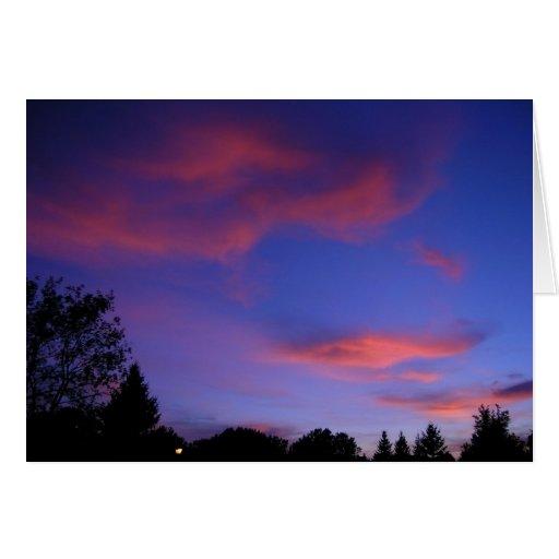 Puesta del sol azul tarjeta de felicitación