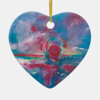 Puesta del sol azul y de color de malva adorno de cerámica en forma de corazón
