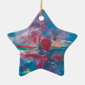 Puesta del sol azul y de color de malva adorno de cerámica en forma de estrella