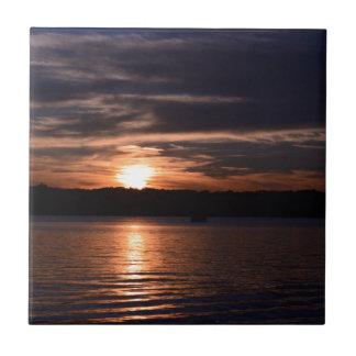 Puesta del sol azulejo cuadrado pequeño