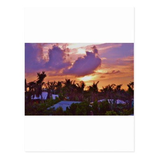 Puesta del sol bahamesa postal
