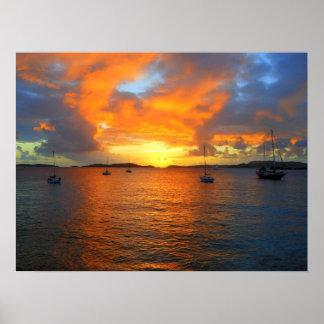 Puesta del sol, bahía de Frank, St. John, U.S.V.I, Póster