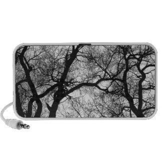 Puesta del sol blanco y negro de los árboles del b notebook altavoz