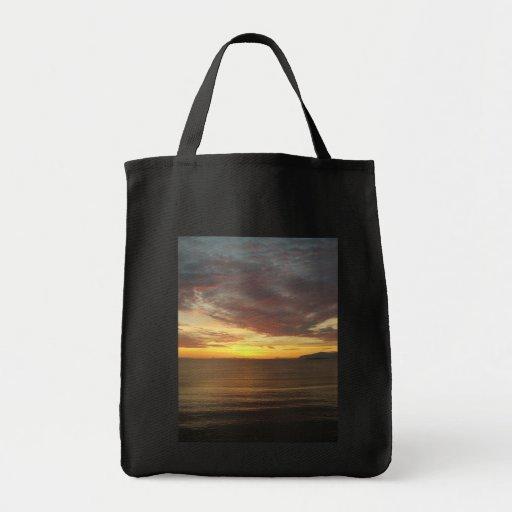 Puesta del sol bolsa tela para la compra