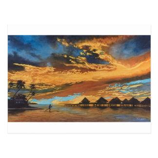 Puesta del sol Bora Bora Tarjeta Postal