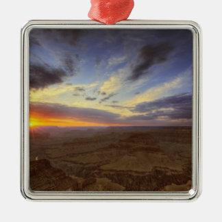 Puesta del sol, borde del sur del Gran Cañón, Adorno Cuadrado Plateado