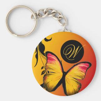 Puesta del sol brillante de la mariposa 311 llavero redondo tipo pin