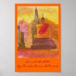 Puesta del sol Buda Poster