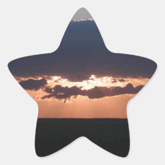 Puesta del sol búlgara pegatina en forma de estrella