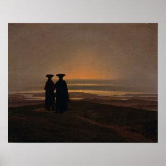 Puesta del sol c.1830-35 póster
