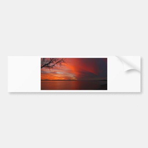 Puesta del sol etiqueta de parachoque