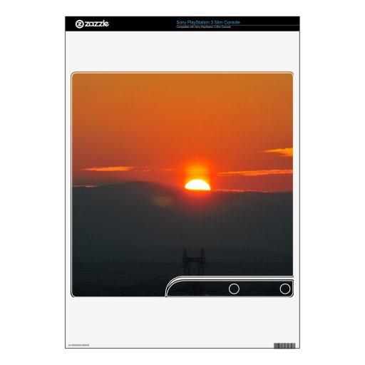 Puesta del sol calcomanías para PS3 slim