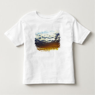 Puesta del sol cambiante azul amarilla con las tshirt