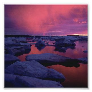 Puesta del sol Canadá de la Bahía de Hudson Arte Fotografico