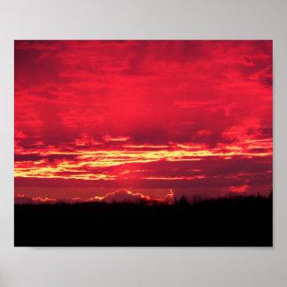 Puesta del sol carmesí póster