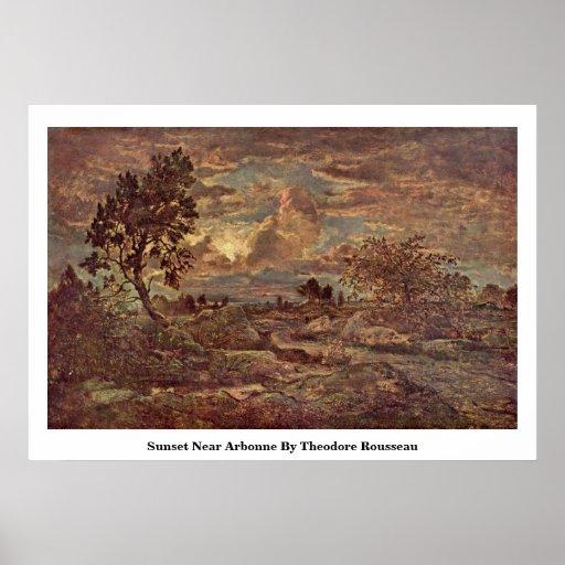 Puesta del sol cerca de Arbonne de Theodore Rousse Posters