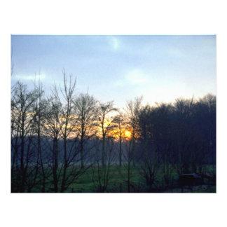 Puesta del sol cerca de la ciudad de Boechout, Amb Tarjetones
