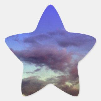 Puesta del sol/cielo y nubes de la salida del sol pegatina forma de estrella personalizadas