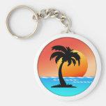 Puesta del sol circular de la palmera llavero personalizado
