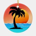 Puesta del sol circular de la palmera ornato