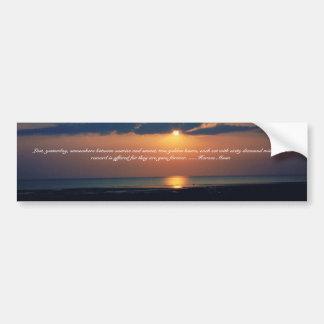 Puesta del sol-Cita de oro de la playa de Horacio  Etiqueta De Parachoque