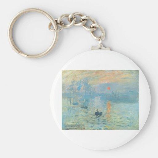 Puesta del sol - Claude Monet Llavero Redondo Tipo Pin