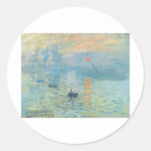 Puesta del sol - Claude Monet Pegatina Redonda