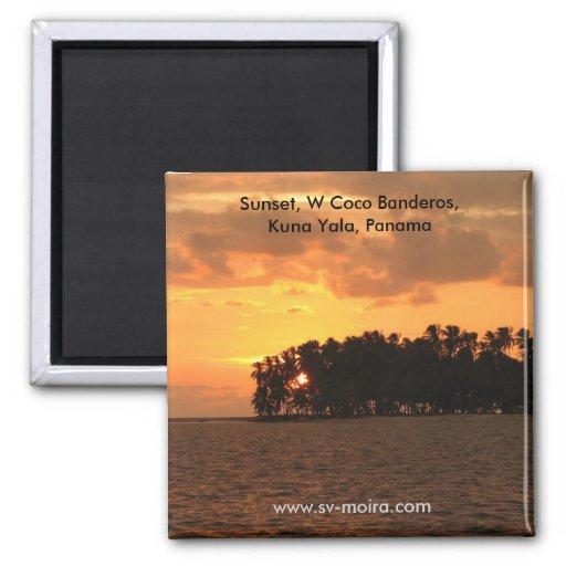 Puesta del sol, Coco Banderos, Kuna Yala, Panamá d Iman De Frigorífico