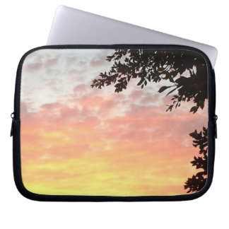 Puesta del sol colorida mangas portátiles