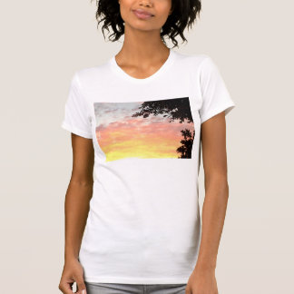 Puesta del sol colorida tee shirt
