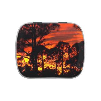 Puesta del sol con amarillo rojo de los pinos frascos de caramelos